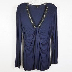 Willi Smith Women's Blue Jeweled Shirt Top Blouse